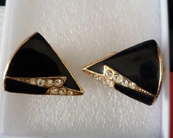black onyx diamante flash ,genuine 1920 vintage clip on