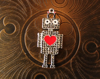 Rhinestone and Enamel Robot Pendant for Chunky Bubblegum Necklaces