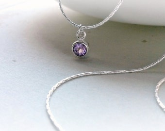 Sterling Silver Amethyst Necklace Amethyst pendant Gifts for Her Gifts under 25 Mother's Day gifts for Her