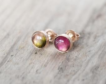 watermelon tourmaline stud earrings /// 6mm mismatched tourmaline studs in 14k rose gold-fill • multicolored /// OOAK gemstone earrings
