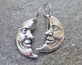 Antique Silver Crescent Moon Earrings With Hypoallergenic Titanium, Niobium OR 925 Sterling Silver Ear Wires - Boho Smiling Man In The Moon