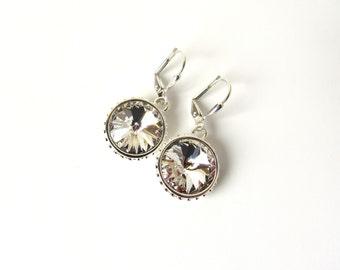 Crystal Earrings, Drop Earrings Silver, Crystal Earrings Dangle, White Crystal Earrings, Clear Crystal Earrings, Wife Gift Jewelry