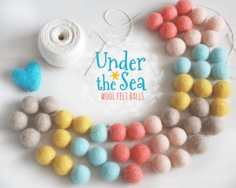Under the Sea Felt Balls  - 100% Wool Felt Balls - 50 Wool Felt Balls - 2cm Felt Balls - Under the Sea Garland - Under the Sea Colors - Poms
