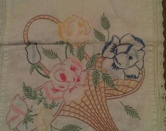 Vintage Embroidered Flower Basket Dresser Scarf