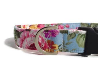 Blue/Pink Floral Dog Collar | Rose Dog Collar | Girl Dog Collar | Dog Collar | Floral Dog Collar | Small Dog Collar | Dog Lead and collar