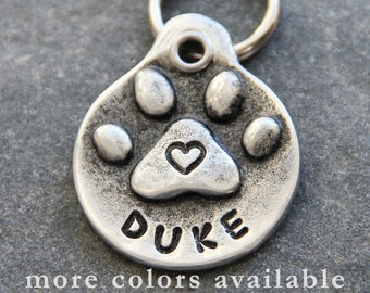 Dog ID Tag, Pet Tag Dog, Custom Pet ID Tag, Hand Stamped Pet Tags, Heart Dog Collar Tag, Large Dog Tags, Small Dog Tags