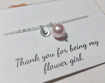 Initial Charm and Pearl Necklace - Junior Bridesmaid and Flower Girl Gift, Bridesmaid Gift,  Wedding Jewelry Gift Ideas