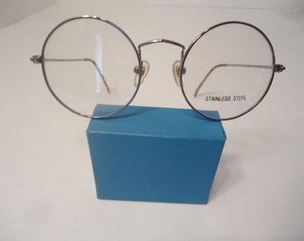 NOS Vintage Harry Potter Type Round Eyeglass Frames Gunmetal 44/20 145 Lot 167