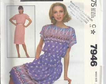 McCall's 7946 Sewing Pattern from 1982  SUMMER DRESS, Pullover Dress.  Bust 30 1/2-31 1/2 UNCUT