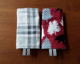 Reversible Headrest Bib Cover and drool Pads for Lillebaby, Tula droolpads, Ergo strap covers, SSC Carriers, bears in the forest & plaid
