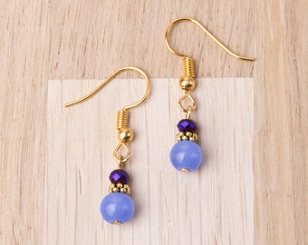 Blue Chalcedony Earrings - Gemstone and blue twinkle bead gold earrings | Chalcedony dangle earrings | Elegant jewelry | Small drop earrings
