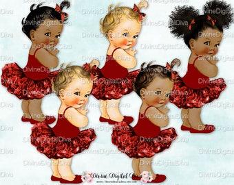 Ballerina Maroon Burgundy Dark Red Tutu | Vintage Baby Girl | 3 Skin Tones | Clipart Instant Download