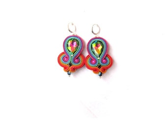 Vitrail Dangle Earrings Glamour Colorful Earrings with Crystals Soutache Jewelry Handmade Earrings Hand Embroidered Dangle Earrings