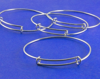 1 pc - Adjustable Stainless Steel Wire Bracelet, Expandable Wire Bracelet, Silver Bracelet - StS-Q00920-8S