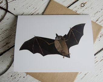 Petite carte de chauve-souris brune de Collage Original