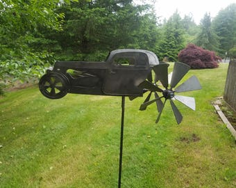 Hot Rod Wind Spinner | Garden Wind Spinner | Yard Spinner | Lawn Spinner | Metal Kinetic Spinning| For Hot Rod Shop| Gift For Dad Or Grandpa