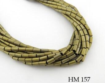 4mm Semi Matte Light Gold Hematite Tube Beads Semi Matte Light Gold Finish (HM 157) BlueEchoBeads