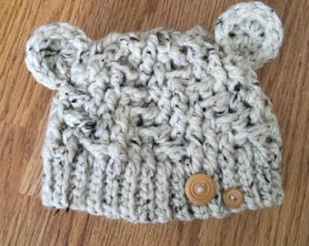 Baby Bear Hat With Buttons