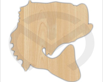 Unfinished Wood Bass Fish Laser Cutout, Home Decor, Country, Lake House, Rustic