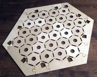 "Blank 5-6 Player Settlers of Catan Game Board, Notched Style - Unfinished Birch Plywood 1/8"" or 1/4"""