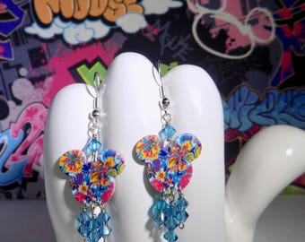 Mickey Mouse Springtime Flowers Double Sided Print Dangle Earrings