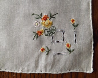 Vintage White Handkerchief With Hand Embroidery