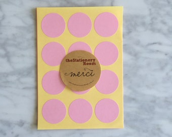 Pastel Pink Paper Seal Stickers - 3cm round Label Sticker Seals - 72 Blank Seals