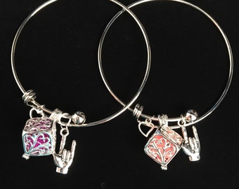 Essential oil sign language I love you charm bracelet