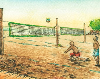 Toronto Art // Watercolor Giclee Print // Giclee Print of Original Watercolor Painting - Ashbridge's Bay Beach Volleyball - Limited Edition
