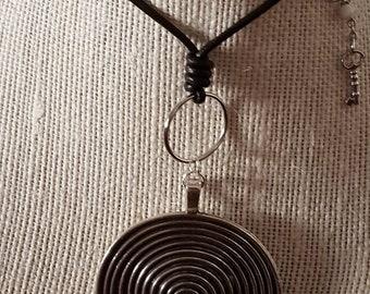 Big Circle Swirl Pendant Necklace