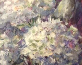 "Hydrangeas Flowers Painting Original Oil Floral Painting 8 x 6"""