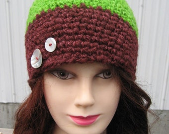 Green and Plum Crocheted Hat Hand spun and Had Dye Yarn 13/11