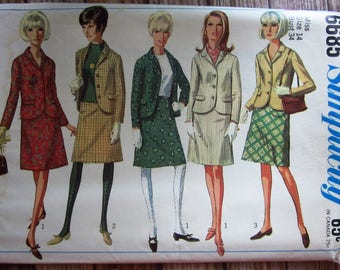 Vintage 1960s Misses Suit Pattern with A-Line Skirt and Lined Jacket Size 14 Simplicity Pattern 6685 UNCUT