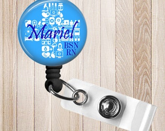 General Practice  Personalized Retractable Badge Reel, Rn, Lpn, Cna, Cma ID Holder