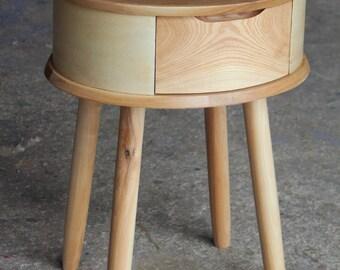 Round Solid Oak Bedside table/ Nightstand/ Custom made/ Handmade