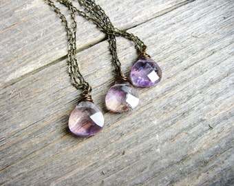Ametrine Necklace, Briolette Necklace, Stone Necklace, Geology, Minimalist, Nature Lover Gift, Stone Pendant, Wire Wrapped Crystal Necklace