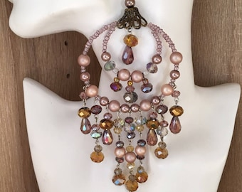 Crystal chandelier gorgeous fashion jewelry unique handmade party extravagant big special occasion earrings
