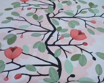 Tablecloth pale pink green leaves coral flowers black tree Floral Scandinavian Design , runner , napkins , curtains , pillows , great GIFT