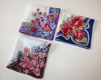 Sweet Floral Hankies, Vintage 3-Piece Set