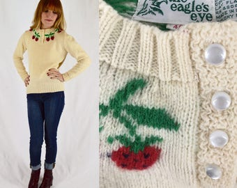 1970s The Eagle's Eye Strawberry Wool Sweater