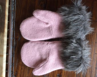 Sweater Mittens Upcycled Cotton Angora Faux Fur Fleece Lined Handmade Only One