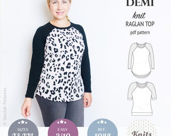 Knit raglan top pdf pattern / top pattern / sewing pattern for women with pdf sewing tutorial / instant download