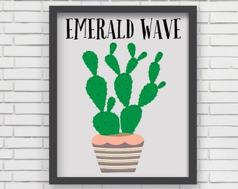 Southwest Art Print Home Decor - Emerald Wave Cactus Print - 8x10 or 11x14
