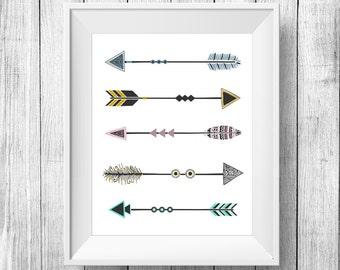 Arrows art print, Arrows Printable Wall Art, Inspirational poster, Arrows digital poster print, hipster style arrows