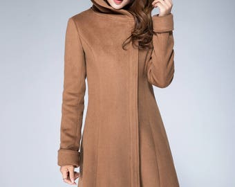 hoodie jacket, brown coat, minimalist coat, camel coat, ladies jacket, short coat, snow coat, winter coat, long sleeves coat  1864