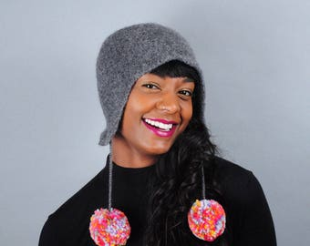 Ear Flap Hat with Pom Poms // Merino Wool // Felted Wool Winter Hat // Several colors // Gifts for Her // Beanie // Tuque // Pompom Hat