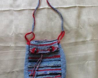 Hand knitted blue stripe shoulder Bag