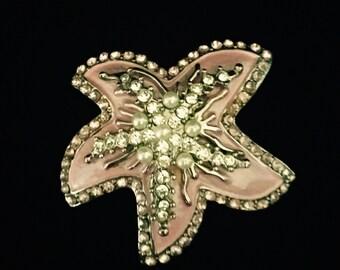 Vintage 50's Pink Enamel Rhinestone Brooch    VG2444