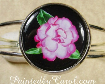 Camellia Bracelet, Camellia Cuff, Camellia Jewelry, Camellia Gifts, Camellia Bridal Jewelry, Camellia Wedding Jewelry, Pink Flower Bracelet