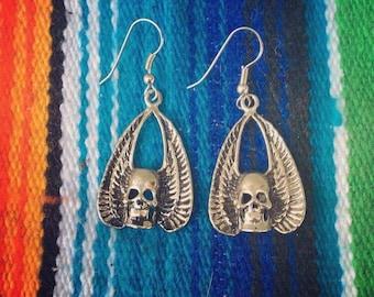 Winged Skull Earrings